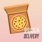 Pizza in the opened cardboard box. Delivery.  Flat design style modern vector illustration.
