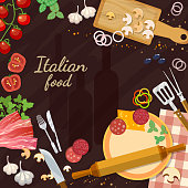 Pizza ingredients on the kitchen table italian food ingredients