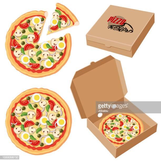 ilustrações de stock, clip art, desenhos animados e ícones de pizza inside a cardbox clip art - pizzaria