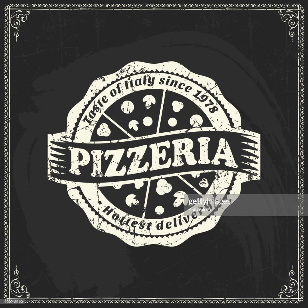 Pizza label on blackboard