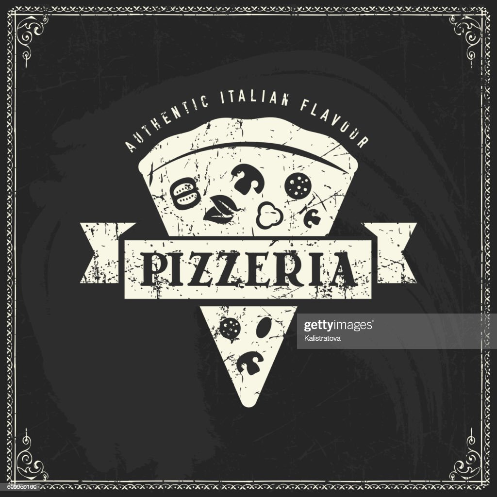 Pizza label on blackboard