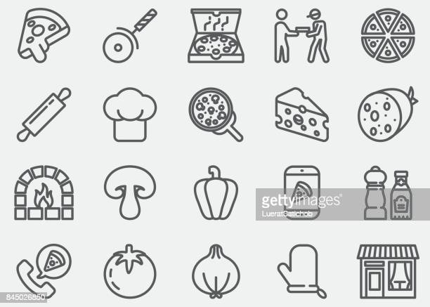 pizza line icons - edible mushroom stock illustrations, clip art, cartoons, & icons