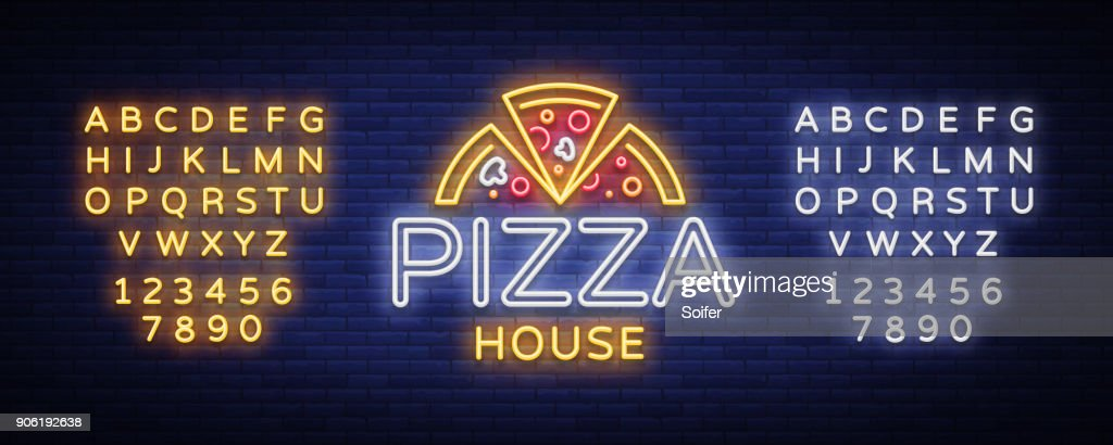Pizza logo emblem neon sign. neon style, bright neon sign with Italian food promotion, pizzeria, snack, cafe, bar, restaurant. Pizza delivery. Vector illustration. Editing text neon sign