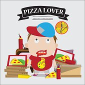 pizza lover boy. character - vector illustration