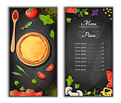 Pizza menu chalkboard cartoon background with fresh ingredients vector illustration Pizzeria flyer vector background. Two vertical banners with ingredients text on wooden background and blackboard