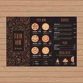 Pizza menu design.