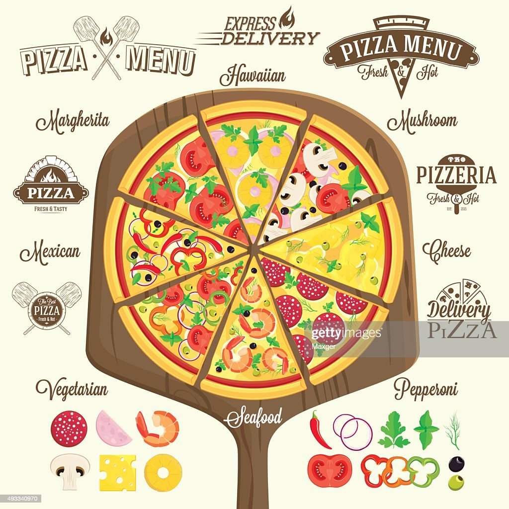 Pizza menu, labels and design elements
