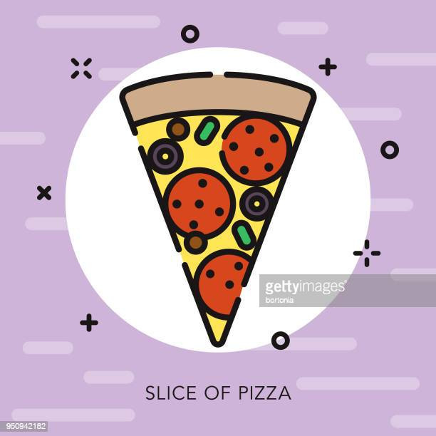 Icono de comida pizza calle contorno