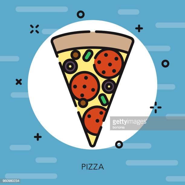 Pizza contorno abierto USA icono
