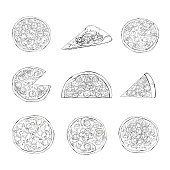 Pizza outline of different types set.