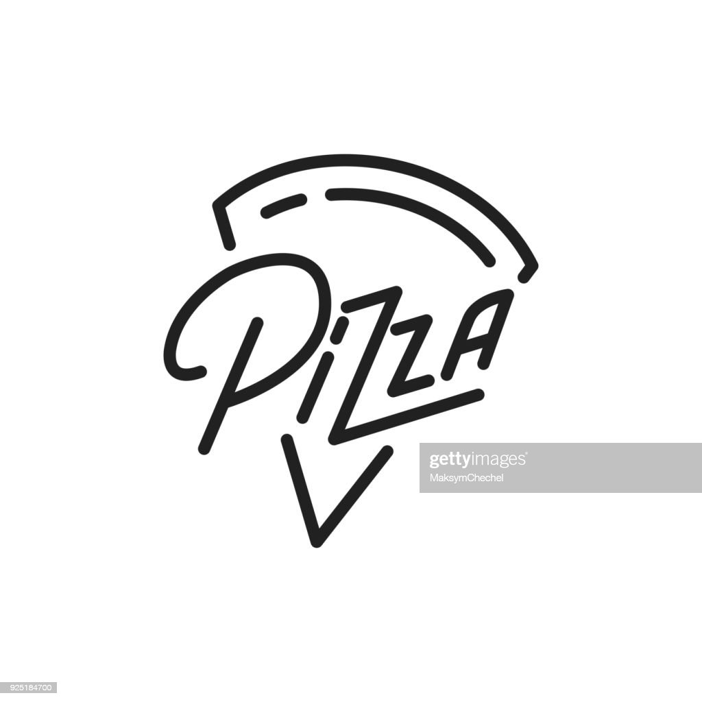 Pizza. Pizza lettering illustration. Pizza label badge emblem