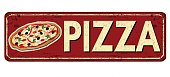 Pizza red vintage rusty metal sign