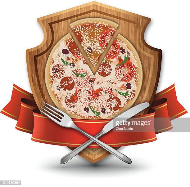 ilustrações, clipart, desenhos animados e ícones de restaurante pizzaria emblema - comida e bebida