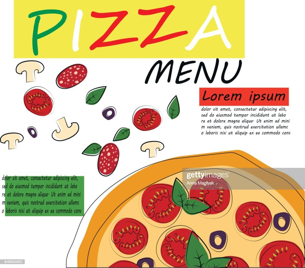pizza restaurant menu template with ingredients vector vector art