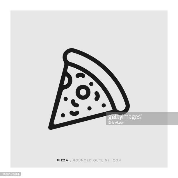 pizza rounded line icon - basil stock illustrations, clip art, cartoons, & icons