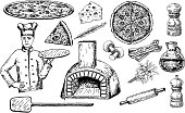 Pizza set vector ink hand drawn illustration
