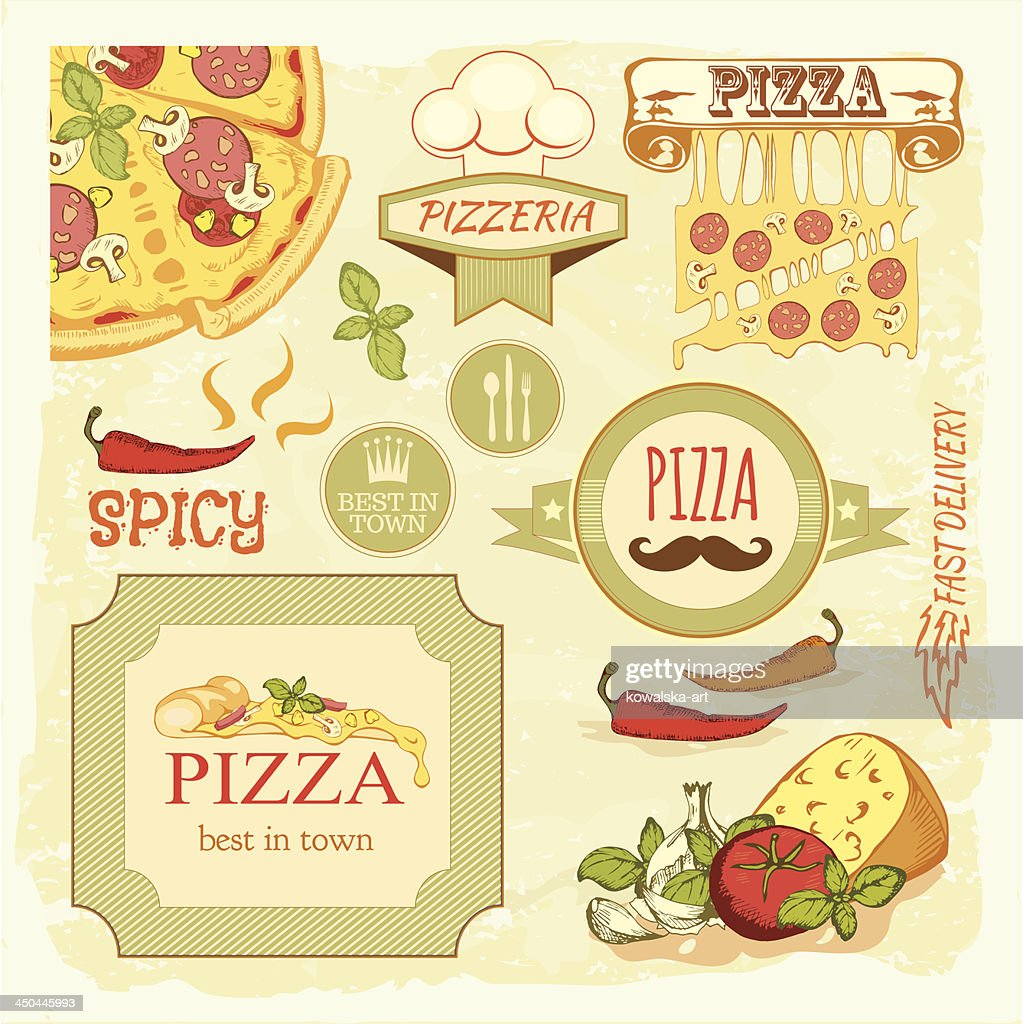 pizza slice and ingredients background,  box label packaging design