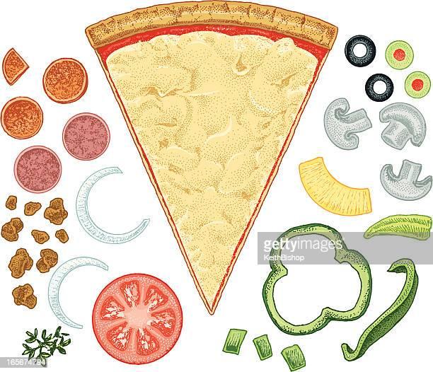 Rebanada de Pizza con ingredientes