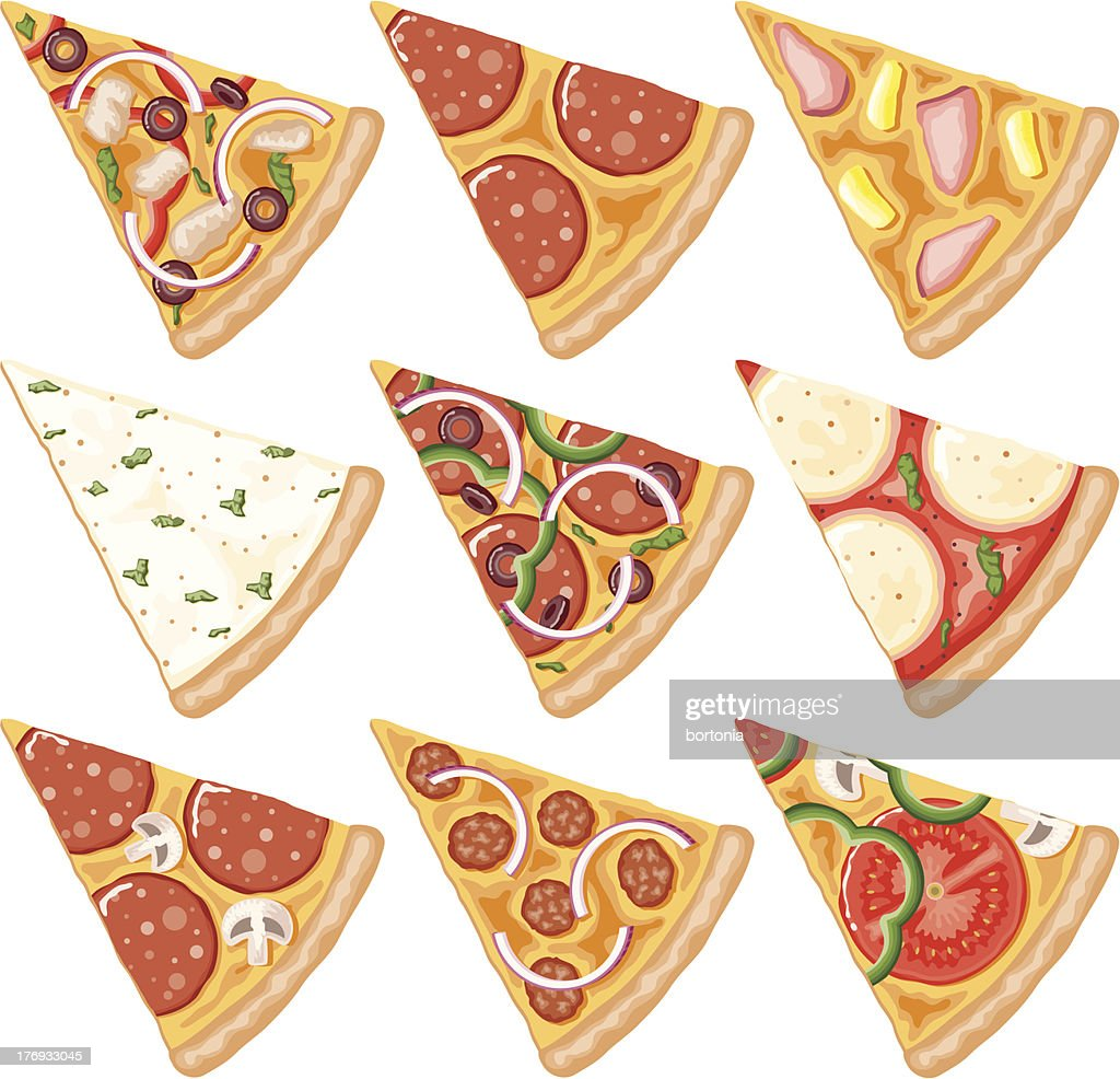 Pizza Slices Icon Set : stock illustration