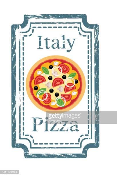 ilustrações de stock, clip art, desenhos animados e ícones de pizza stamp - pizzaria