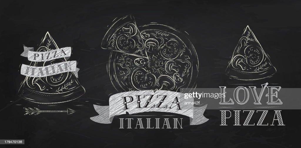 Pizza symbol chalk