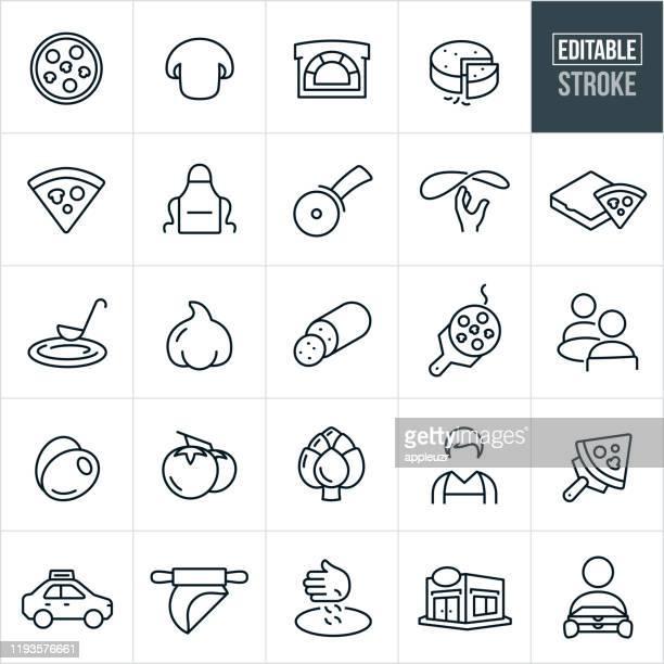 ピザ細線アイコン - 編集可能なストローク - 食材点のイラスト素材/クリップアート素材/マンガ素材/アイコン素材