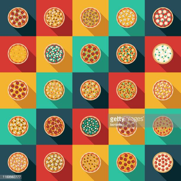 ilustraciones, imágenes clip art, dibujos animados e iconos de stock de pizza toppings icon set - pizza
