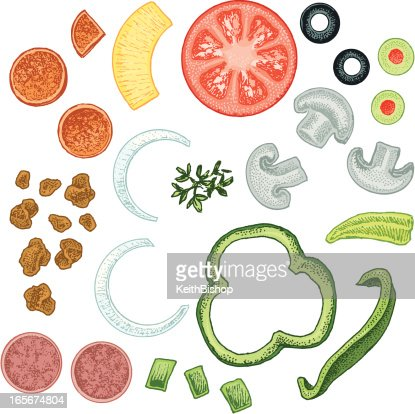 Pizza Toppings Vector Art Getty Images