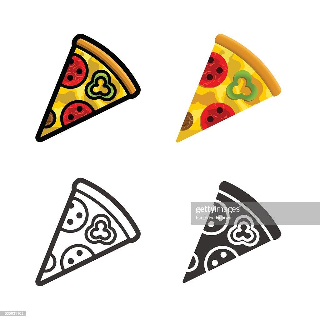 Pizza vector colored icon set