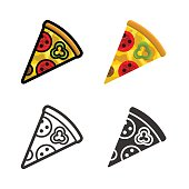 Pizza vector colored icon set
