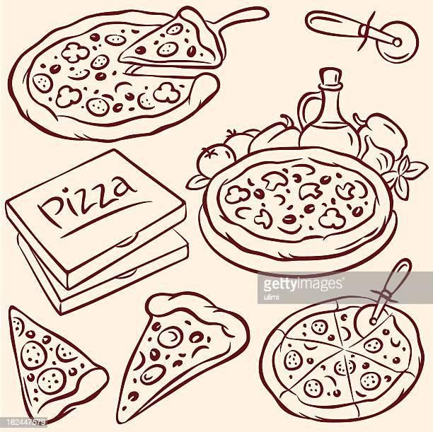 ilustraciones, imágenes clip art, dibujos animados e iconos de stock de pizza - pizza