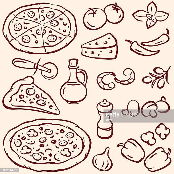 pizza - basil stock illustrations, clip art, cartoons, & icons