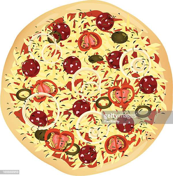 pizza - cheddar cheese stock illustrations, clip art, cartoons, & icons