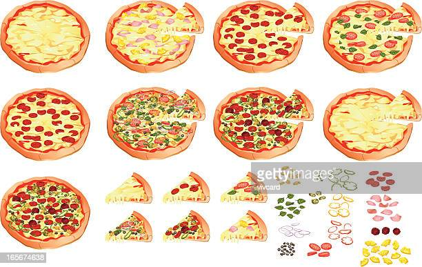 pizza - margarita stock illustrations