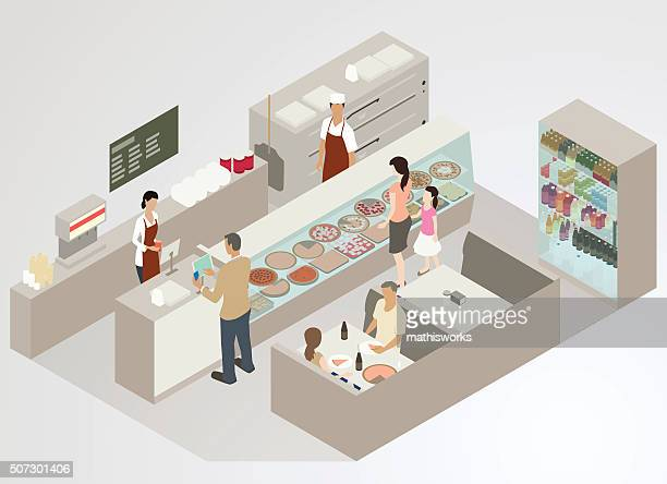 pizzeria illustration - mathisworks business stock illustrations