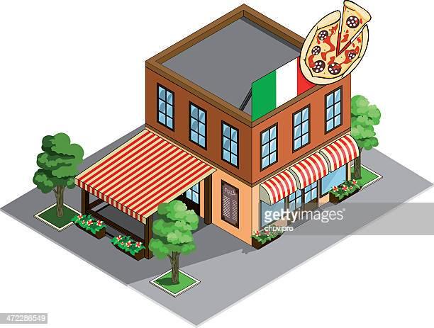 Pizzeria restaurant building Isometric