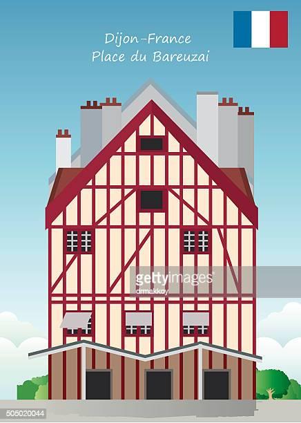 place du bareuzai-france - dijon stock illustrations