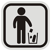 Place for waste, black figure and trash can