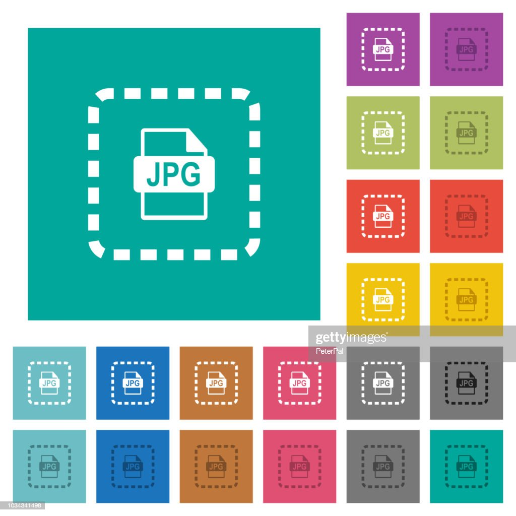Place jpg file square flat multi colored icons