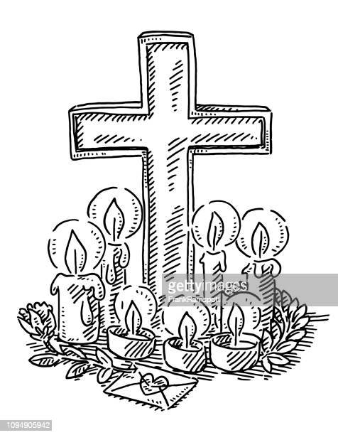 place of mourning cross and candles drawing - candle stock illustrations, clip art, cartoons, & icons