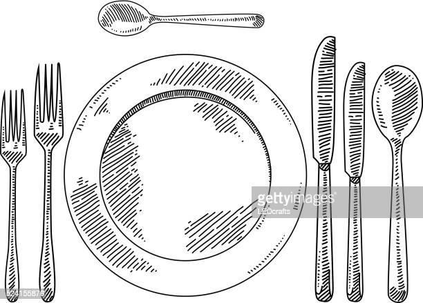 stockillustraties, clipart, cartoons en iconen met place setting drawing - vork