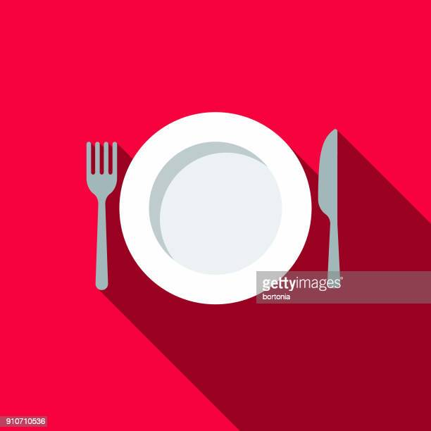 place setting flat design bbq icon with side shadow - plate stock illustrations