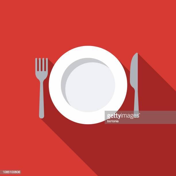ilustraciones, imágenes clip art, dibujos animados e iconos de stock de ajuste de lugar comida kit icono - tenedor