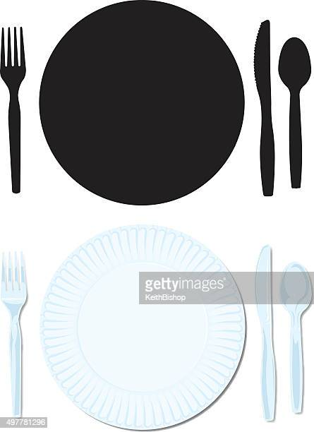 place setting - paper plate, plastic fork, spoon, knife - plastic plate stock illustrations