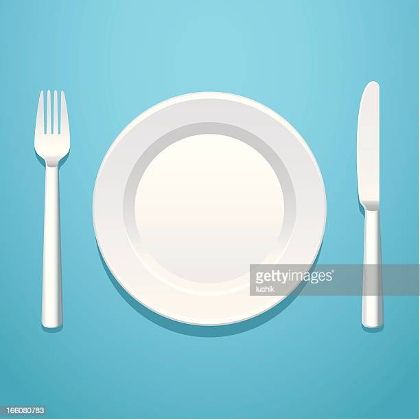 a place setting with a knife, fork, and plate - plate stock illustrations