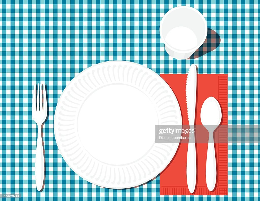 Place Setting with Dinner Plate Utensilsglass on Checkered Blue  Vector Art  sc 1 st  Getty Images : dinner plate setting - Pezcame.Com