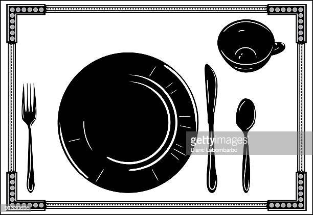 Place Setting with Dinnerware Silhouette in Black and White