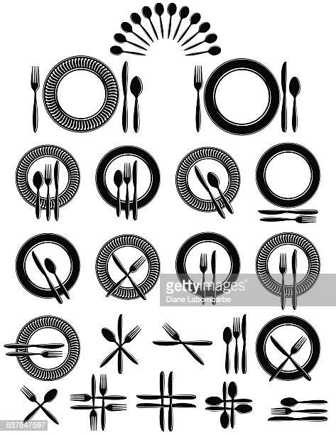 Place Setting With Knife, For And Spoon Kitchen Icon Set