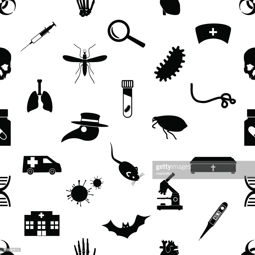 plague and disease theme simple black icons seamless pattern eps10