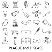 plague and disease theme simple black outline icons collection eps10